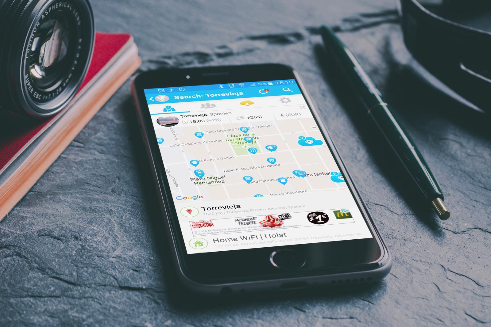 WiFi App auf dem Smartphone