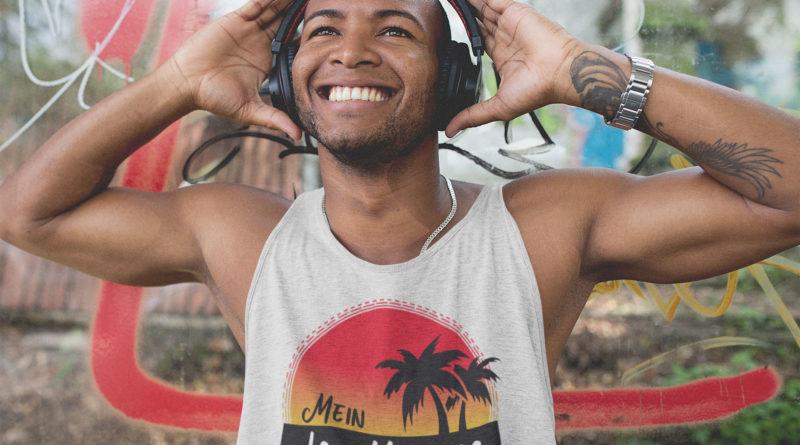 black man listening to music
